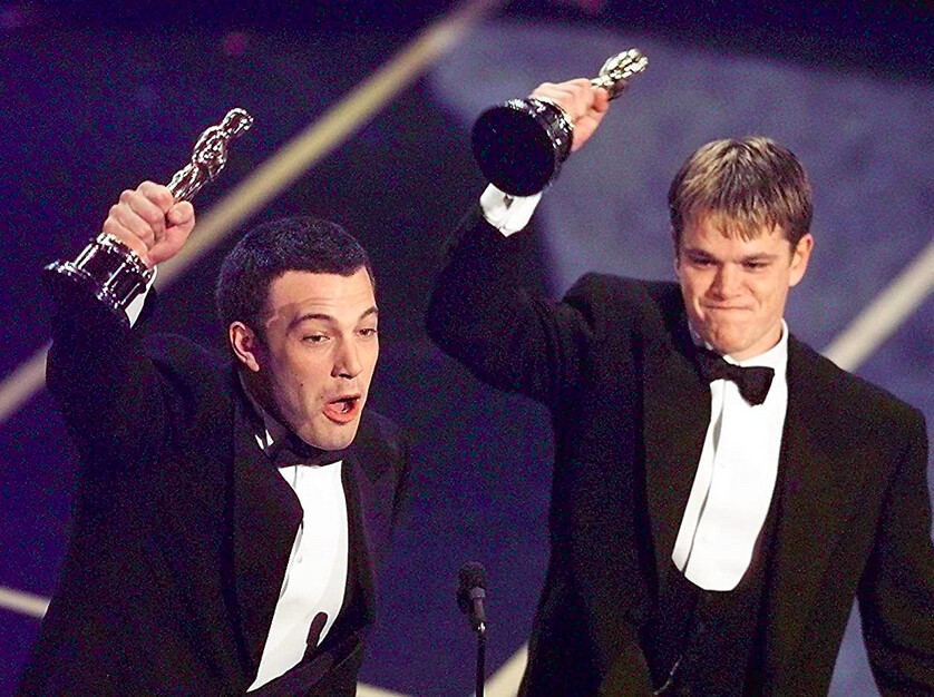 two men holding Oscars for Good Will Hunting