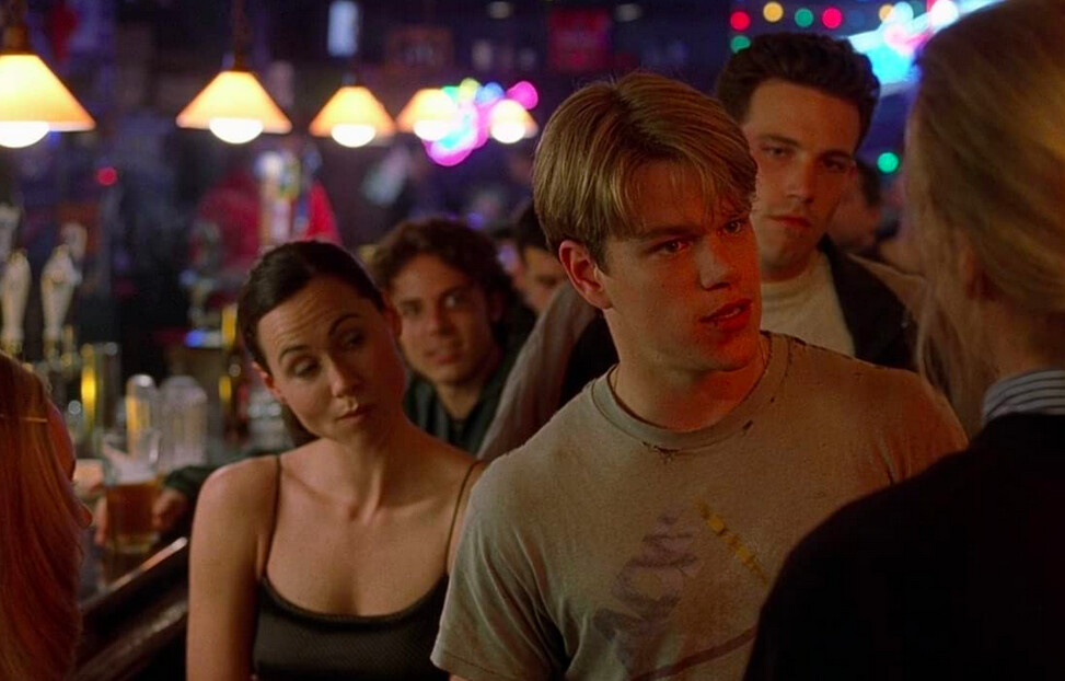 crowd scene in a bar in Good Will Hunting