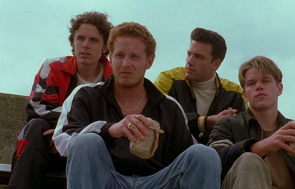 four young men watch a baseball game in Good Willl Hunting