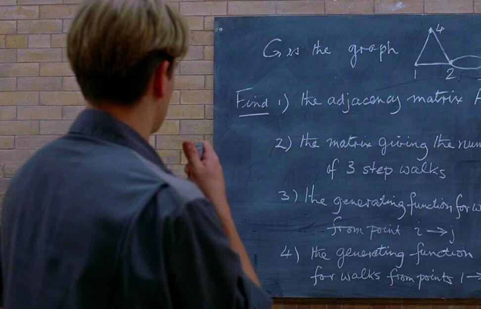Man looks at blackboard in Good Will Hunting