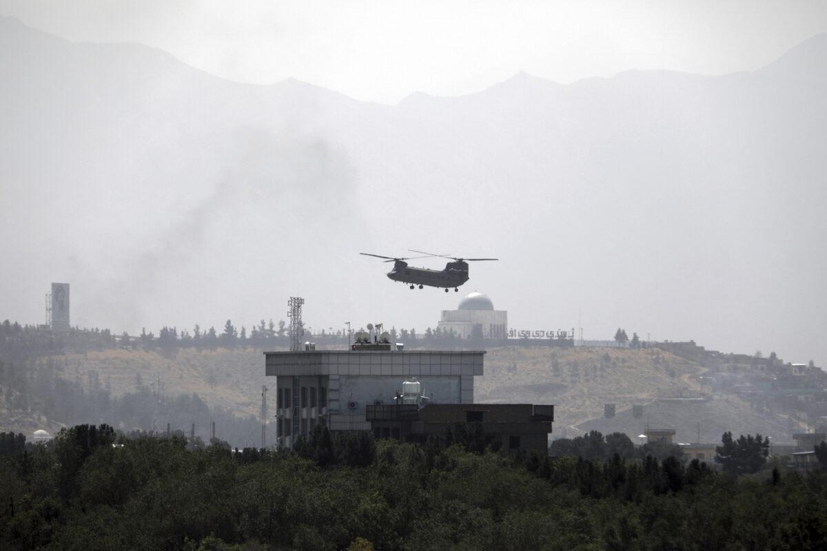 Chopper flies over the U.S. Embassy