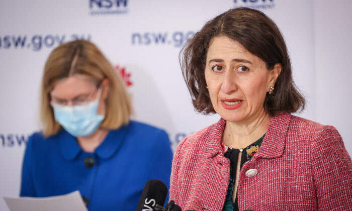 NSW Premier Gladys Berejiklian (right) speaks next to NSW Chief Health Officer Dr. Kerry Chant during a press conference in Sydney, Australia, on Aug. 15, 2021. (AAP Image/David Gray)