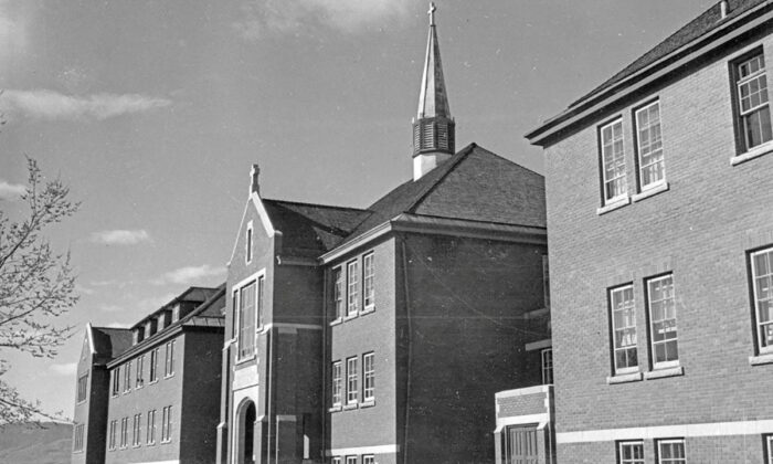 The main administrative building at the Kamloops Indian Residential School in Kamloops, B.C., circa 1970. (Library and Archives Canada/Handout via Reuters)