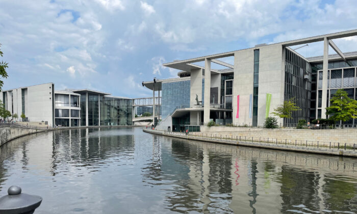 The river Spree runs past German Parliament office buildings in Berlin. (Lesley Sauls Frederikson)