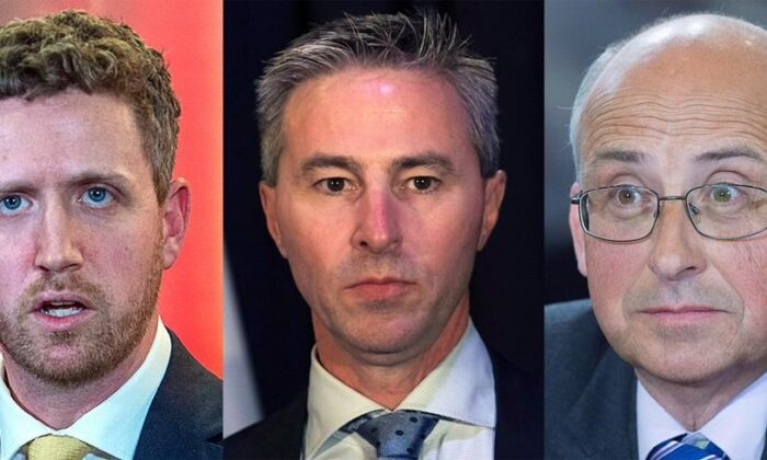 This composite image of three photographs shows, from left to right, Nova Scotia Liberal Leader Iain Rankin, taken in Halifax on Feb. 6, 2021; Nova Scotia Progressive Conservative Leader Tim Houston taken in Halifax on October 27, 2018; and Nova Scotia New Democrative Party Leader Gary Burrill taken in Halifax on May 25, 2017. ( The Canadian Press/Andrew Vaughan, Ted Pritchard)