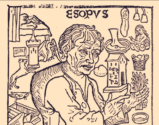 """A detail from the facsimile of the 1489 Spanish edition of """"Aesop's Fables"""" (""""Fabulas de Esopo) published in Madrid in 1929. The frontispiece woodcut depicts Aesop surrounded by images and events from the """"Life of Aesop"""" by Planudes. (PD)"""