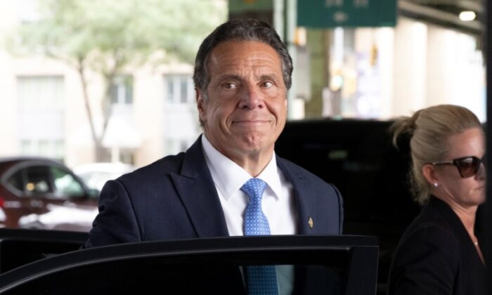 New York Governor Andrew Cuomo arrives to depart in his helicopter after announcing his resignation in Manhattan, New York City, on Aug. 10, 2021. (Caitlin Ochs/Reuters)
