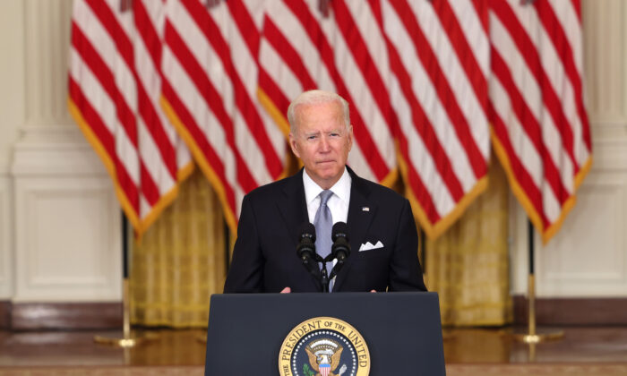 President Joe Biden delivers remarks on the worsening crisis in Afghanistan from the East Room of the White House in Washington on Aug. 16, 2021. (Anna Moneymaker/Getty Images)