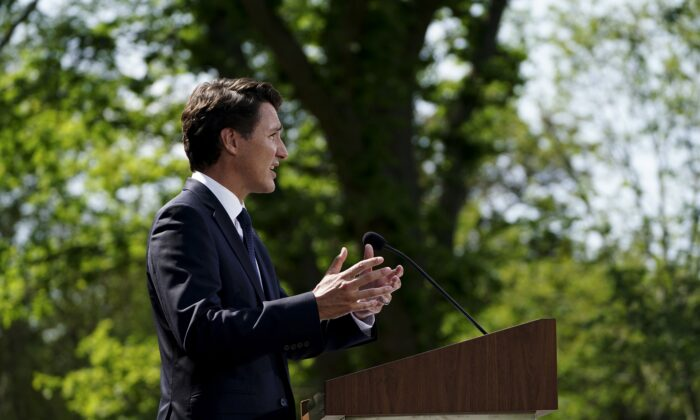 Prime Minister Justin Trudeau holds a press conference to announce a federal election after meeting with Governor General Mary Simon at Rideau Hall in Ottawa on Aug. 15, 2021. (The Canadian Press/Sean Kilpatrick)