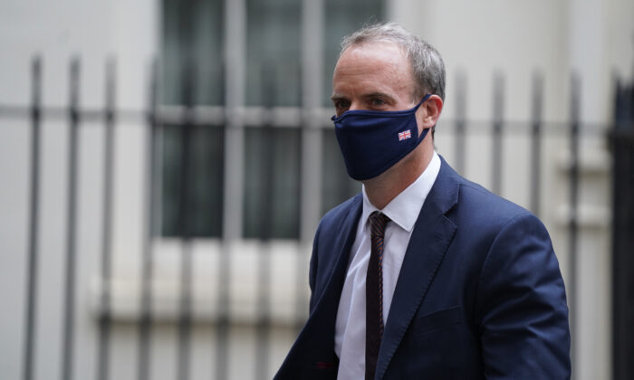 Foreign Secretary Dominic Raab in Downing Street for a Cobra meeting over the situation in Afghanistan in London on Aug. 16, 2021. (Stefan Rousseau/PA)