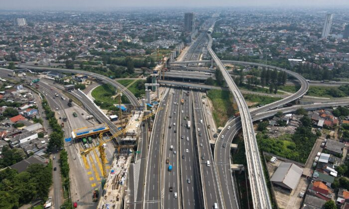 This aerial picture shows motorists commuting on a highway in Bekasi, West Java, Indonesia, on May 21, 2021. (Bay Ismoyo/AFP via Getty Images)
