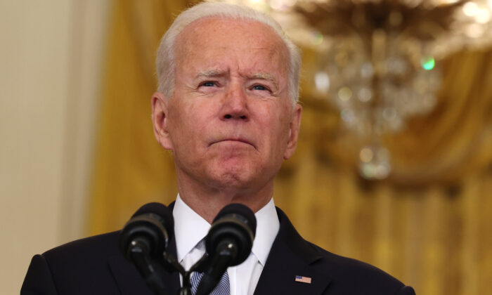President Joe Biden pauses while giving remarks on the worsening crisis in Afghanistan from the East Room of the White House in Washington on Aug. 16, 2021. (Anna Moneymaker/Getty Images)