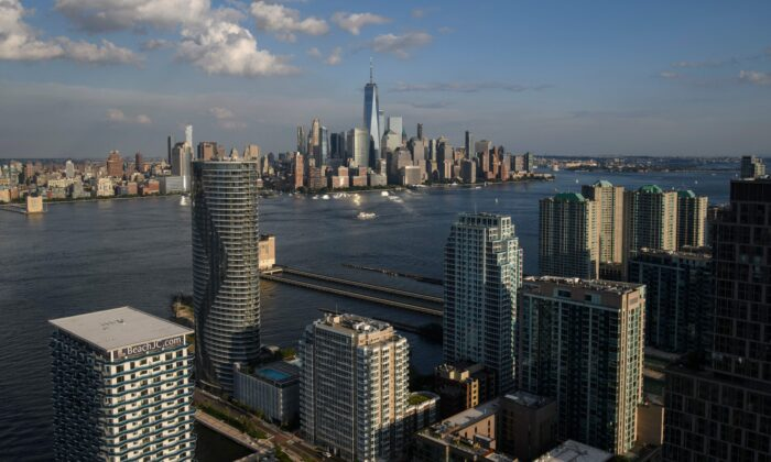 An aerial general view shows the New York city skyline from New Jersey on Aug. 5, 2021. (Ed Jones/AFP via Getty Images)