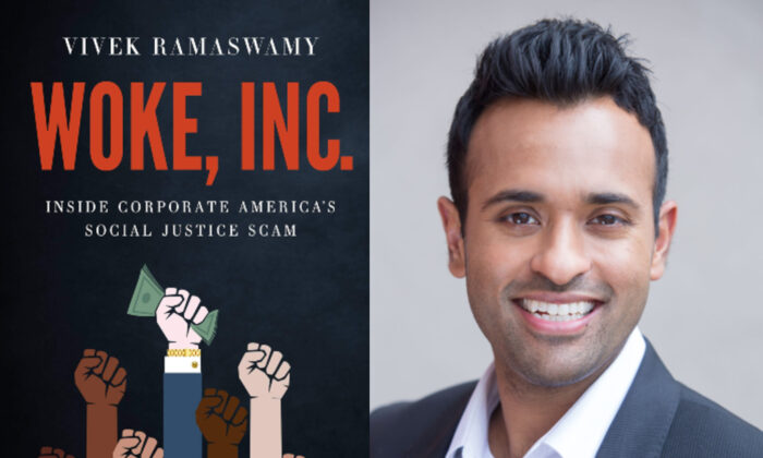 """The cover of """"Woke, Inc.: Inside Corporate America's Social Justice Scam,"""" by Vivek Ramaswamy."""