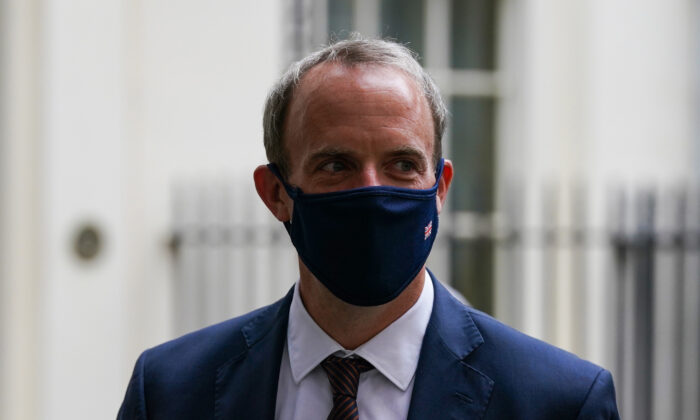 Foreign Secretary Dominic Raab leaving 10 Downing Street after attending a Cobra meeting, in London on Aug. 16, 2021. (Kirsty O'Connor/PA)