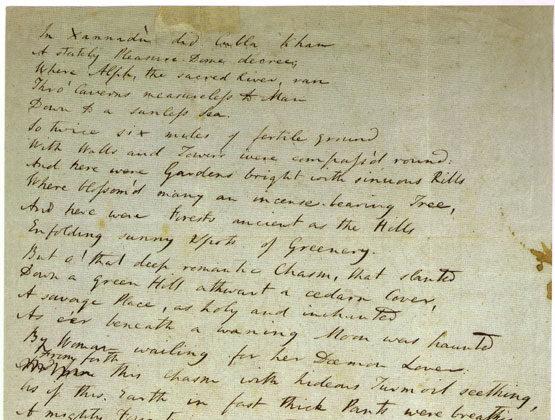 A draft written between 1797 and 1818 of Samuel Taylor Coleridge's poem Kubla Khan, written in the poet's own hand. (Public Domain)