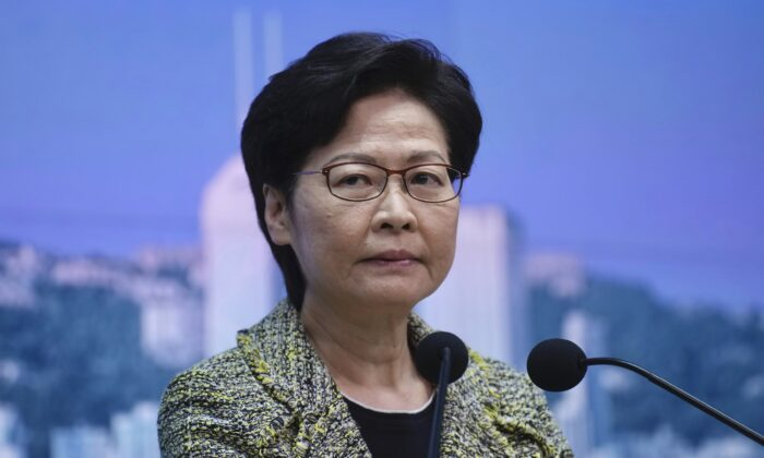 Hong Kong Chief Executive Carrie Lam listens to reporters' questions during a press conference in Hong Kong on Aug. 17, 2021. (Vincent Yu/AP Photo)