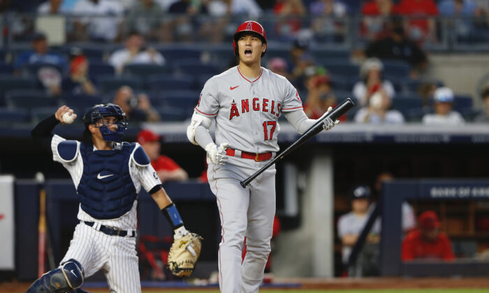 Los Angeles Angels designated hitter Shohei Ohtani (17) reacts after a called strike against the New York Yankees during the third inning of a baseball game in New York on Aug. 16, 2021.  (AP Photo/Noah K. Murray)