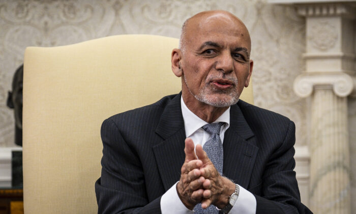 Afghan President Ashraf Ghani makes brief remarks during a meeting with U.S. President Joe Biden and Dr. Abdullah Abdullah, Chairman of the High Council for National Reconciliation, in the Oval Office at the White House in Washington on June 25, 2021. (Pete Marovich-Pool/Getty Images)