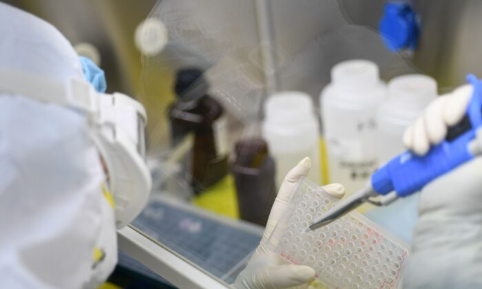"""A laboratory technologist working on samples to be tested for the new coronavirus at """"Fire Eye"""" laboratory in Wuhan, Hubei Province. BGI Group, a genome sequencing company based in southern China, said it opened a lab in Wuhan on Feb. 5 that is able to test up to 10,000 people per day for the virus.  (STR/AFP via Getty Images)"""