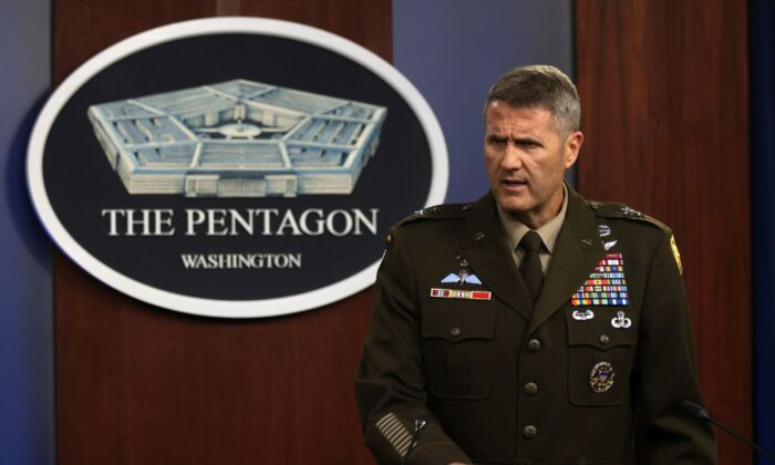 U.S. Army Maj. Gen. Hank Taylor speaks during a news briefing at the Pentagon in Arlington, Va., Aug. 16, 2021. (Alex Wong/Getty Images)