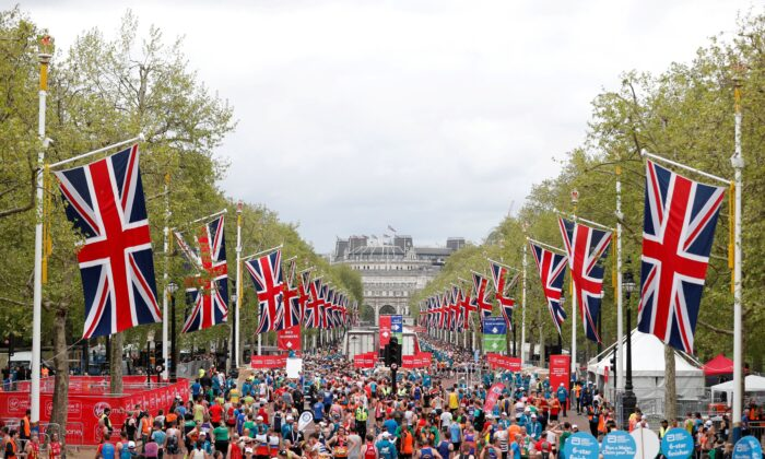 General view at the finish of the London marathon in London, Britain, on April 28, 2019. (Matthew Childs/Reuters)