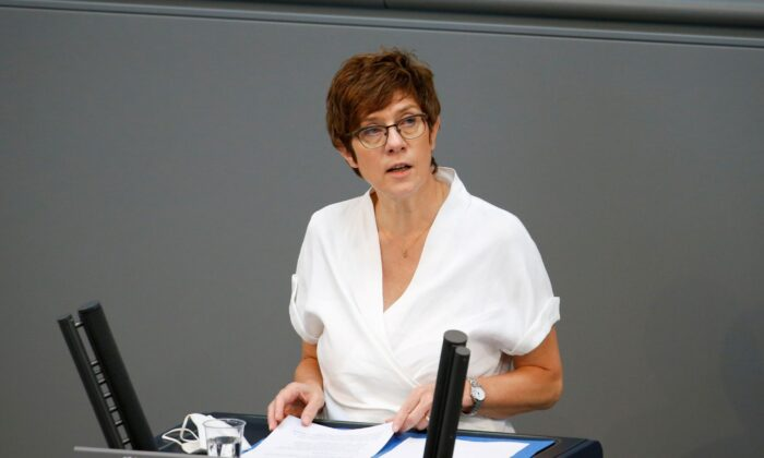 German Defense Minister Annegret Kramp-Karrenbauer speaks during the last session of the lower house of parliament Bundestag before federal elections, in Berlin on June 23, 2021. (Michele Tantussi/File Photo/Reuters)