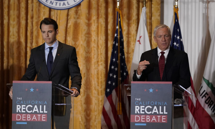 Republican candidates for California Governor Doug Ose, right, and Kevin Kiley participate in a debate at the Richard Nixon Presidential Library in Yorba Linda, Calif., on Aug. 4, 2021. (Marcio Jose Sanchez/AP Photo)