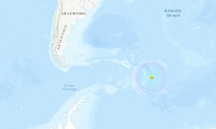 A map showing the location of a magnitude 6.9 earthquake that struck the South Sandwich Islands region on Aug. 16, 2021. (USGS)