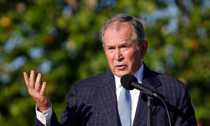 Former U.S. President George W. Bush speaks during the flag raising ceremony prior to The Walker Cup at Seminole Golf Club in Juno Beach, Fla., on May 7, 2021. (Cliff Hawkins/Getty Images)