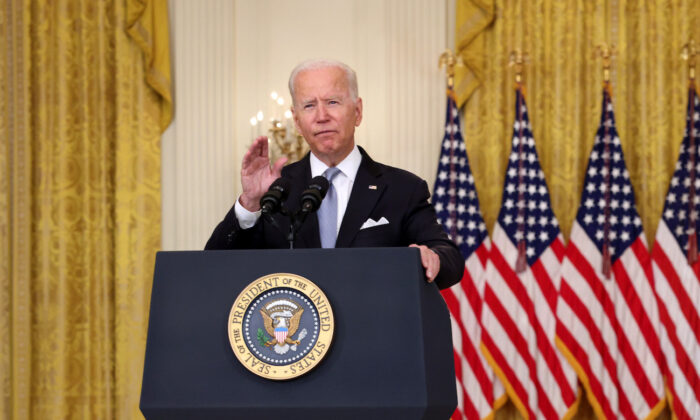 President Joe Biden delivers remarks on the worsening crisis in Afghanistan from the East Room of the White House in Washington, on Aug. 16, 2021. (Anna Moneymaker/Getty Images)