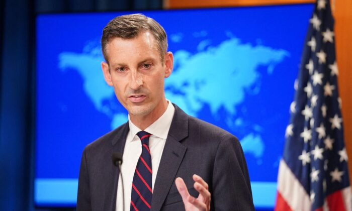 U.S. State Department spokesman Ned Price holds a press briefing on Afghanistan at the State Department in Washington, on Aug. 16, 2021. (Kevin Lamarque/Pool/AFP via Getty Images)