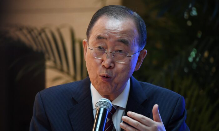 Former UN head Ban Ki-moon speaks at the launch of a report on climate adaptation, by the Global Commission on Adaptation, in Beijing, China on Sep. 10, 2019. (Photo credit should read Greg Baker/AFP via Getty Images)
