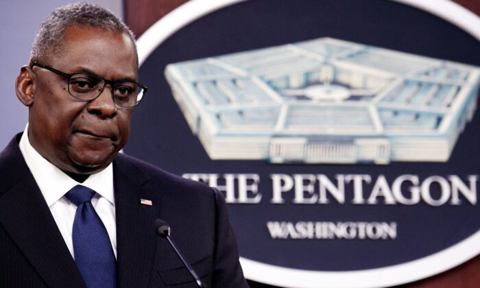U.S. Defense Secretary Lloyd Austin speaks to the press at the Pentagon in Washington on Aug. 18, 2021. (Oliver Douliery/AFP via Getty Images)