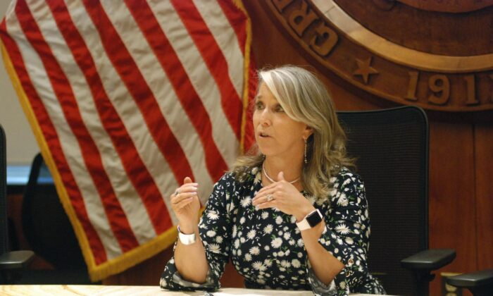 New Mexico Gov. Michelle Lujan Grisham speaks at a news conference in Santa Fe, N.M., on July 29, 2021. (Morgan Lee/AP Photo)