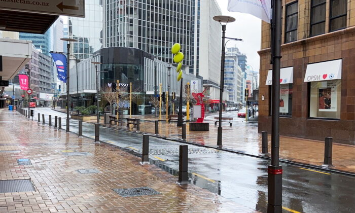 Lambton Quay is devoid of people on the first day of a lockdown in Wellington, New Zealand, on Aug. 18, 2021. (Praveen Menon/Reuters)
