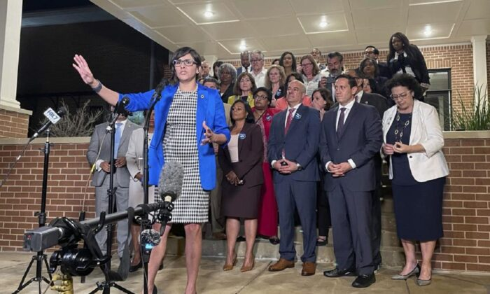 Texas Rep. Jessica Gonzalez speaks during a news conference in Austin, Texas, on May 31, 2021. (Acacia Coronado/AP Photo)