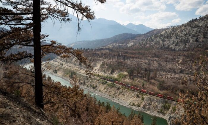 A Canadian Pacific freight train travels on tracks covered with fire retardant in an area burned by a wildfire above the Thompson River near Lytton, B.C., on Aug. 15, 2021. (The Canadian Press/Darryl Dyck)