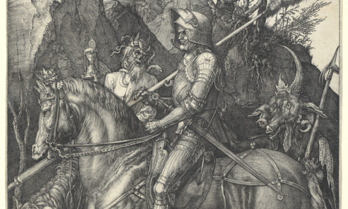 """A detail from the """"Knight, Death, and the Devil,"""" it's clear that the Knight is calm despite of the threats posed by his traveling companions. The Metropolitan Museum of Art, New York. (Public Domain)"""