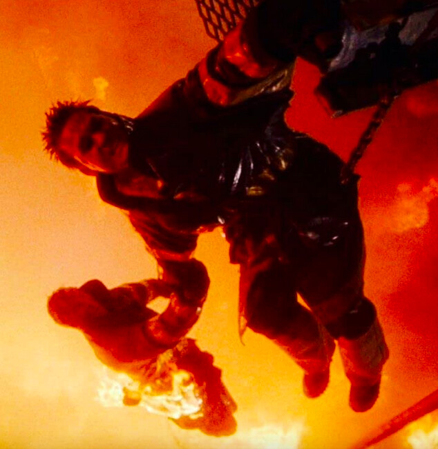 two men about to fall into a fire in BACKDRAFT