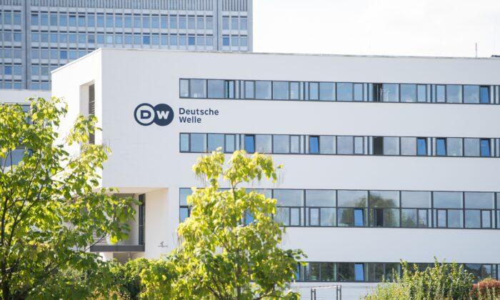 The head office of German international broadcaster Deutsche Welle (DW) in Bonn, western Germany, on Sept. 26, 2016. (Marius Becker/DPA/AFP via Getty Images)