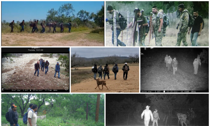 Recent trail camera photos of illegal aliens provided by ranchers in Kinney County, Texas. (Courtesy of ranchers)