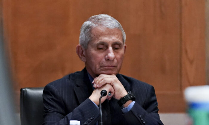 Dr. Anthony Fauci, Director of the National Institute of Allergy and Infectious Diseases, pauses during a Senate Appropriations Subcommittee hearing May 26, 2021 on Capitol Hill. The committee will hear testimony about the NIH FY22 budget and the current state of medical research. (Stefani Reynolds-Pool/Getty Images)