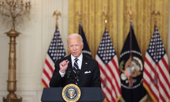 U.S. President Joe Biden gestures as he delivers remarks on the COVID-19 response and the vaccination program in the East Room of the White House on Aug. 18, 2021. (Anna Moneymaker/Getty Images)