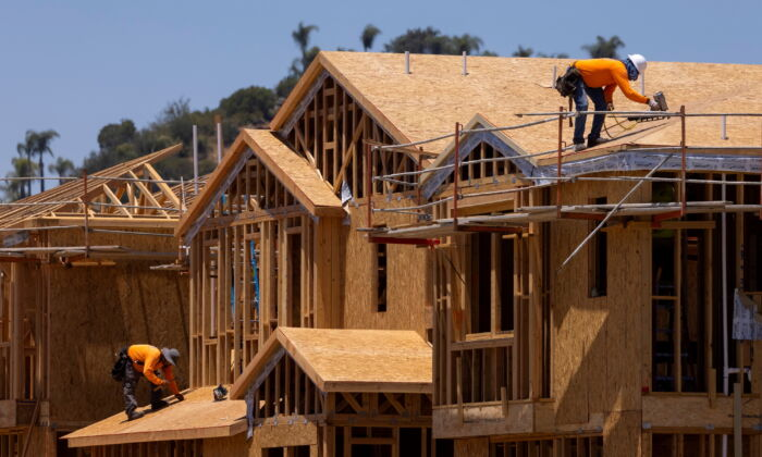 Residential homes are shown under construction in Valley Center, Calif., on June 3, 2021. (Mike Blake/Reuters)