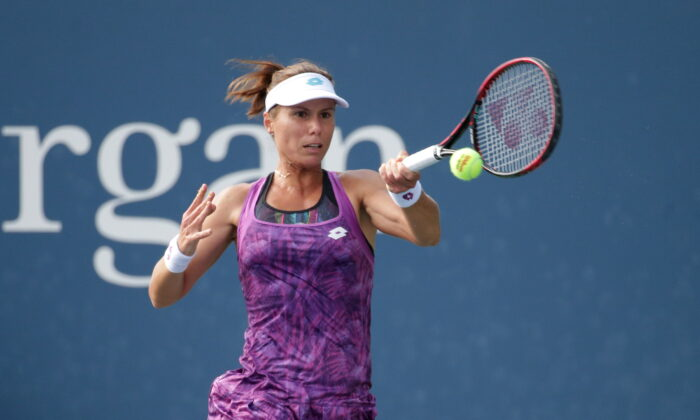 Varvara Lepchenko of the United States returns a shot against Shuai Peng of China in a first round match on day one of the 2019 U.S. Open tennis tournament at USTA Billie Jean King National Tennis Center, in Flushing, NY, on Aug. 26, 2019. (Jerry Lai/USA Today Sports)
