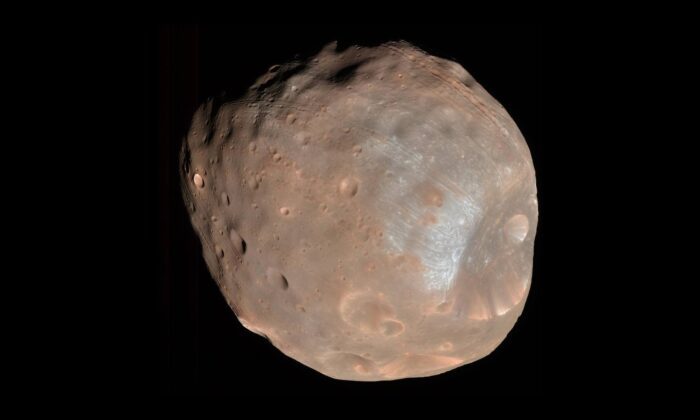 An image of Phobos taken by the High Resolution Imaging Science Experiment camera on NASA's Mars Reconnaissance Orbiter on March 23, 2008. (NASA/JPL-Caltech/University of Arizona)