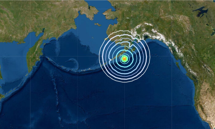 A map showing the location of a magnitude 6.9 earthquake that struck off the coast of the Alaska Peninsula early Saturday morning, on Aug. 14, 2021. (USGS)