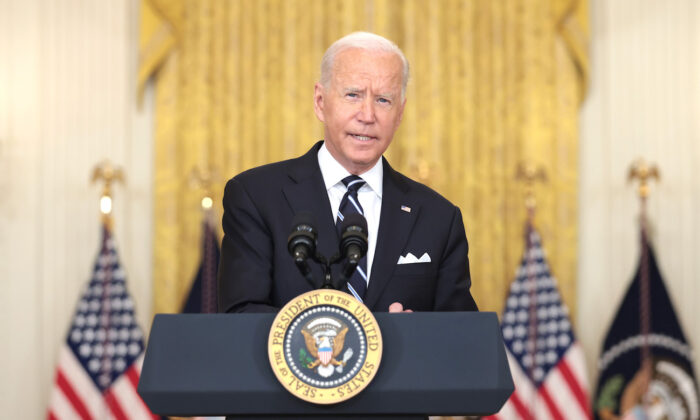President Joe Biden delivers remarks in the East Room of the White House in Washington on Aug. 18, 2021. (Anna Moneymaker/Getty Images)