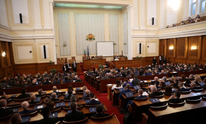 A general view shows the first plenary session of the new parliament in Sofia, Bulgaria, April 15, 2021. (Stoyan Nenov/Reuters)